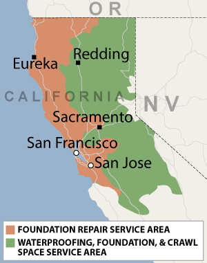 Service Area of Foundation Repair of CA